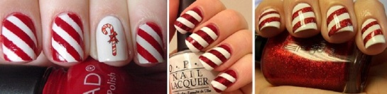 Candy Cane | Chrismas Manicures | SalonAddict.co.uk