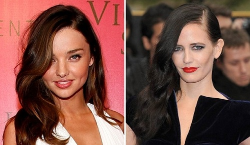 Miranda Kerr & Eva Green | Deep Side Parting Hairstyles | SalonAddict.co.uk