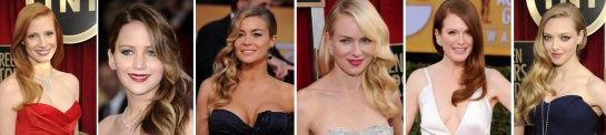 Jessica Chastain | Jennifer Lawerence | Carmen Electra | Naomi Watts | Juliannne Moore | Amanda Seyfried | Hairstyles 2013 - The SAG Awards | SalonAddict.co.uk